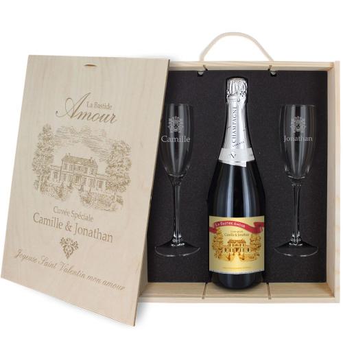 Caisse Cadeau Champagne 3 pièces Bastide Amour