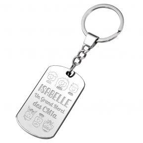 Porte-clés plaque personnalisé Merci Maîtresse