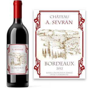 Bouteille de vin avec étiquette personnalisée
