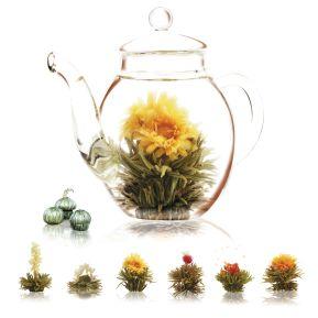 Théière et fleurs de thé magiques