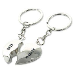 Portes-clés coeurs duo gravés