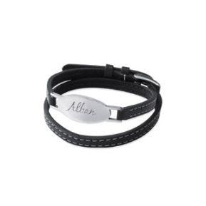 Bracelet cuir ovale personnalisé
