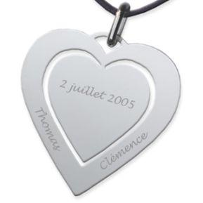 Pendentif double coeur gravé