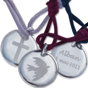 Médaille de baptême gravée