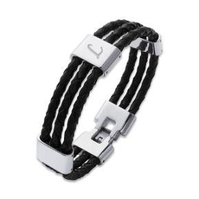 Bracelet cuir 3 cordons gravé
