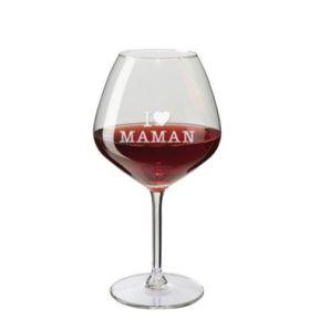 Verre à vin gravé dégustation maman