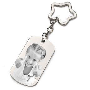 Porte-clés photo gravée plaque étoile ajourée