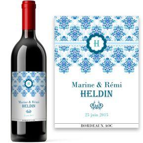 Bouteille de vin style baroque personnalisée