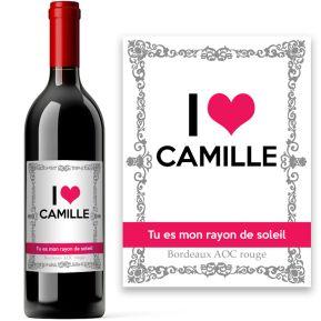 Bouteille de vin I love U personnalisée
