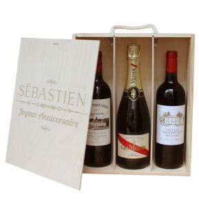 Coffret à vin 3 bouteilles gravure prénom