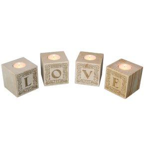 Bougeoir cube en bois gravé lettres