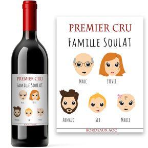 Bouteille de vin My Family personnalisée