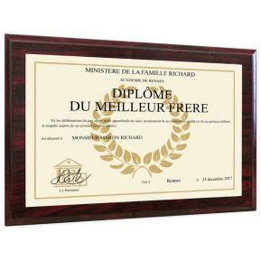 Diplôme de lauréat personnalisé sur plaque en bois