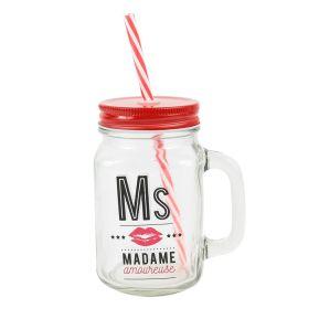 Mason Jar en verre Madame amoureuse
