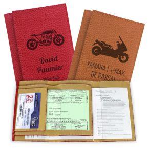 Protège Papiers moto en cuir gravé