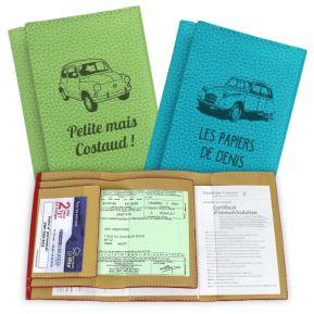 Protège papiers de voiture en cuir gravé