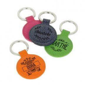 Porte-clés cuir rond personnalisé prénom