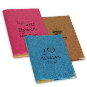 Protège passeport cuir gravé fête des mères