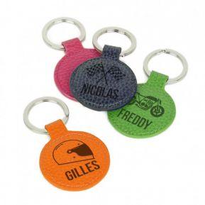 Porte-clés cuir rond personnalisé motifs voiture