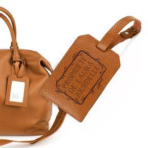 Porte-étiquette de bagage en cuir personnalisé cadre fleuri