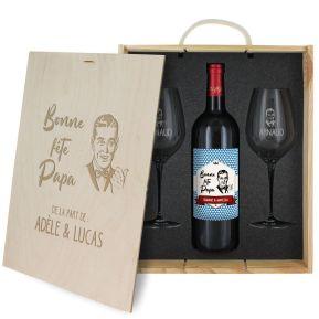 Caisse à vin 3 pièces gravée Fête des Pères