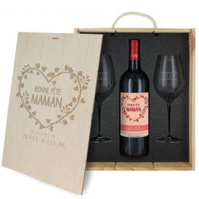 Caisse à vin 3 pièces gravée Maman