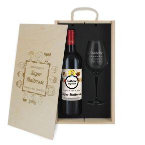 Caisse à vin 2 pièces gravée Merci Maitresse