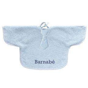 Bavoir bébé bleu à manche brodé