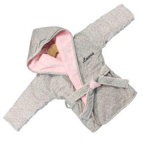 Peignoir bébé rose brodé
