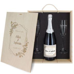 Caisse à Champagne 3 pièces gravée Mariage