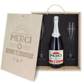 Caisse à Champagne 3 pièces gravée Merci