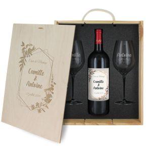 Caisse à vin 3 pièces gravée mariage