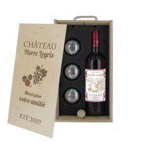 Caisse vin et pétanque gravée