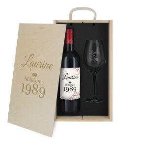 Caisse vin 2 pièces gravée anniversaire