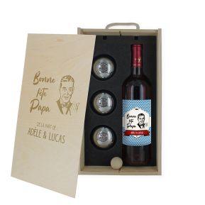 Caisse vin et pétanque gravée Fête des Pères