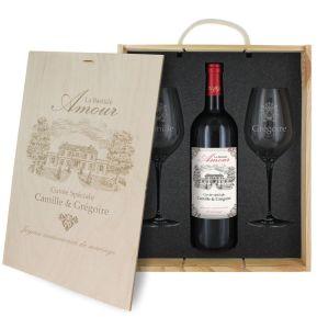 Caisse vin 3 pièces gravée Bastide Amour