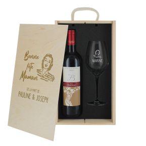 Caisse vin 2 pièces gravée Fête des Mères
