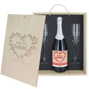Caisse Champagne 3 pièces gravée Maman