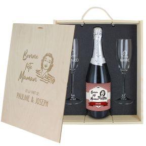 Caisse Champagne 3 pièces gravée Fête des Mères
