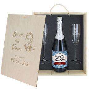 Caisse Champagne 3 pièces personnalisée Fête des Pères