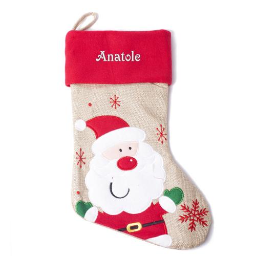Chaussette de Noël effet lin et feutrine brodée au prénom