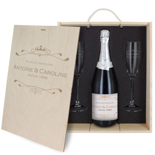 Caisse Champagne 3 pièces gravée Royale