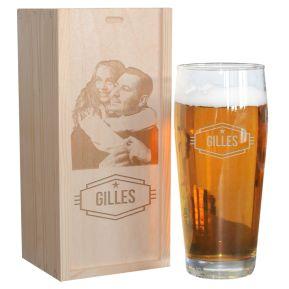 Pinte de bière gravée prénom avec coffret photo