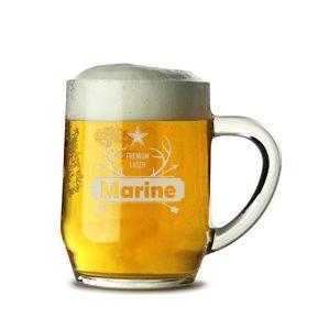 Chope à bière personnalisée au prénom