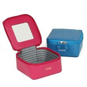 Boîte à bijoux carrée avec miroir personnalisée