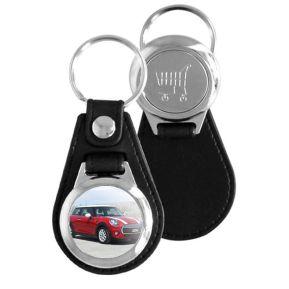 Porte-clés simili cuir personnalisé photo avec jeton de caddie