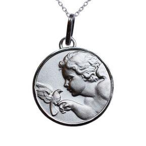 Médaille Chérubin et colombe en argent massif personnalisée
