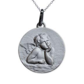 Médaille Chérubin Rêveur en argent massif personnalisée