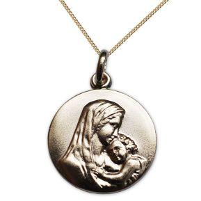 Médaille de baptême Vierge à l'enfant en plaqué or personnalisée