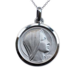 Médaille de baptême Sainte Vierge en argent massif